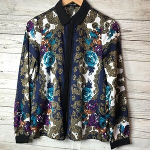 Forever 21 Multicolored Floral Long Sleeve Top